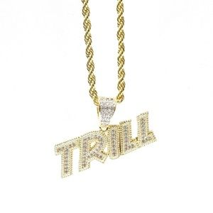Other - Yellow Gold Finish Lab Diamond TRILL Charm Chain